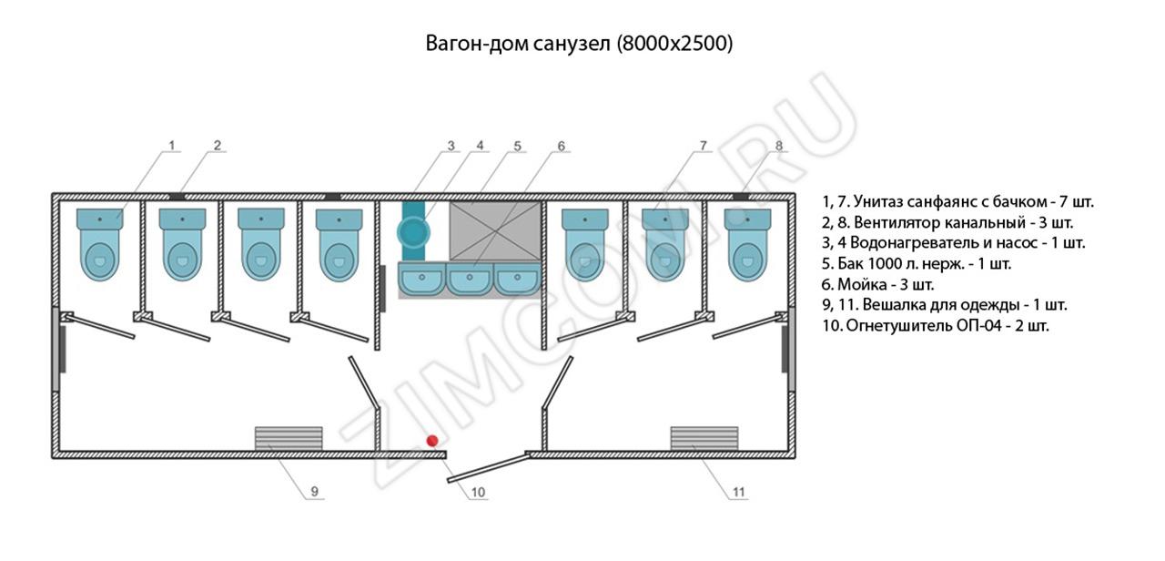 Вагон-дом санузел 8000×2500