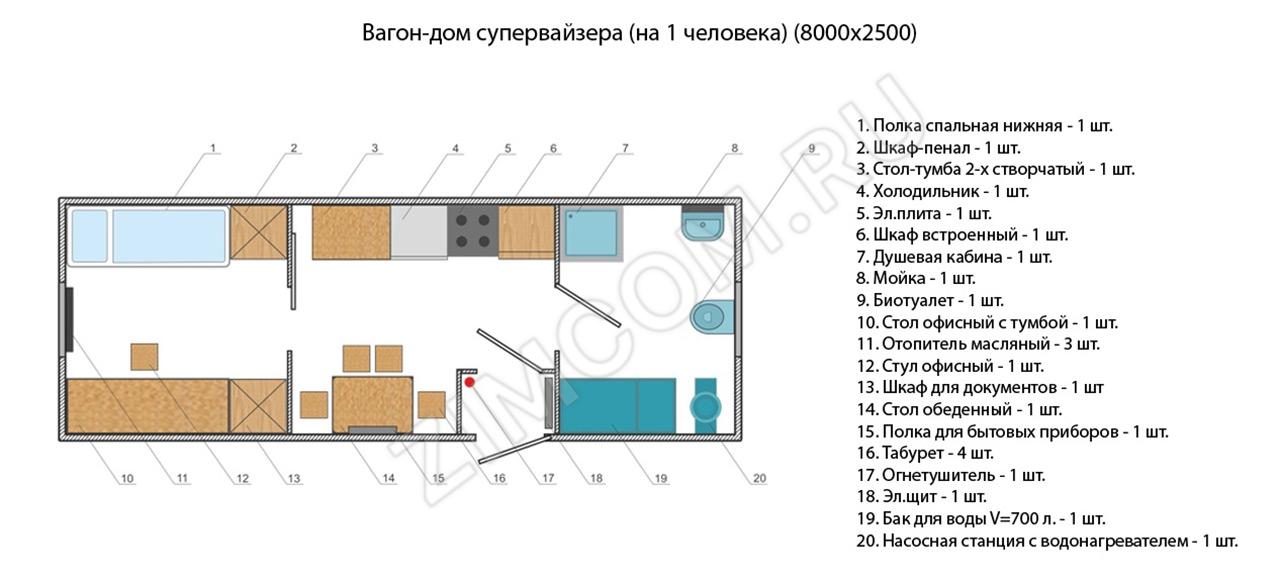 Вагон-дом супервайзера 8000×2500