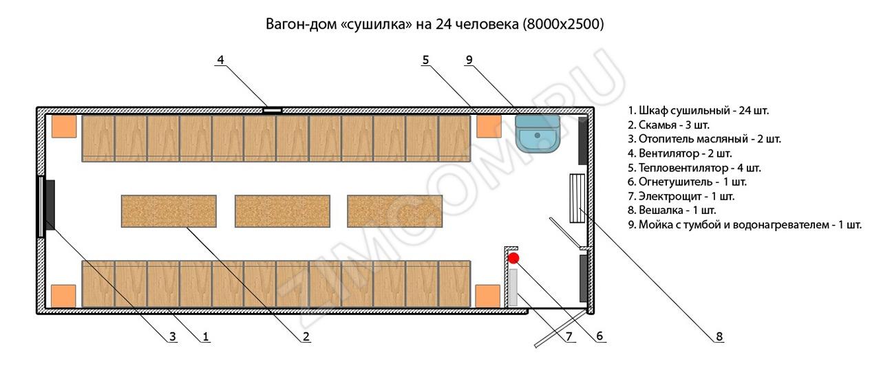 «Бытовка-сушилка» на 24 человека (8000×2500)