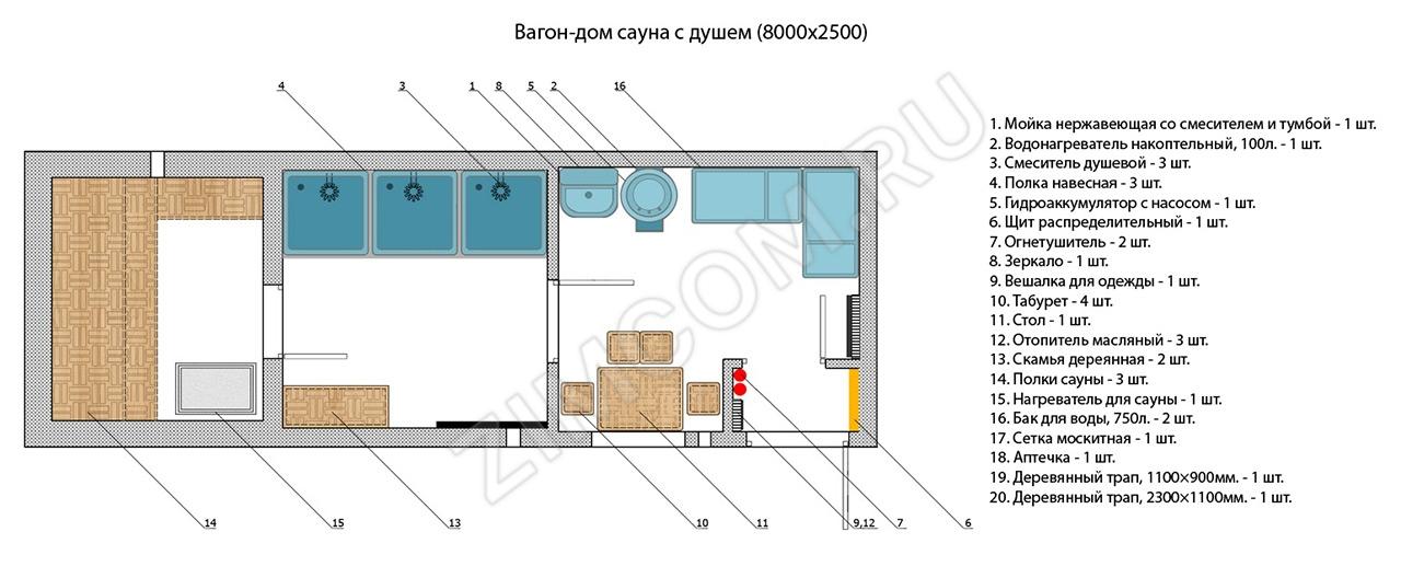 Бытовка-сауна с душем (8000×2500)
