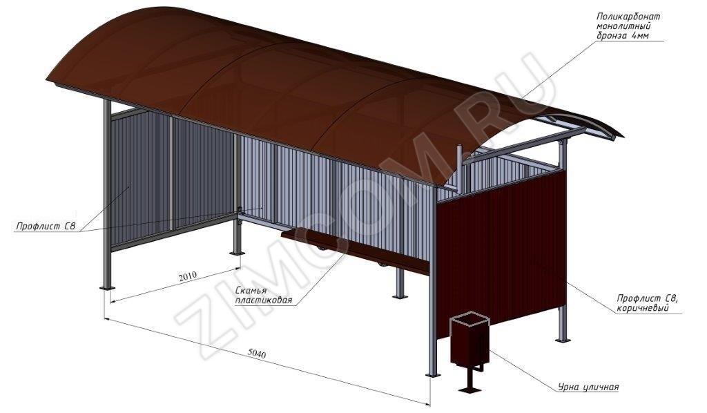 Остановочный павильон 5040х2010х2500м